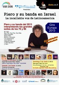 Cartel de los conciertos de Piero en Israel.