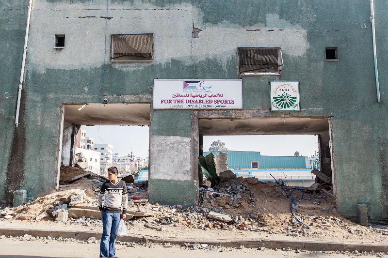 Estadio Paralímpico de Gaza, destruido por el bombardeo israelí durante la operación Plomo Fundido (2009) / Foto: Desde Palestina.