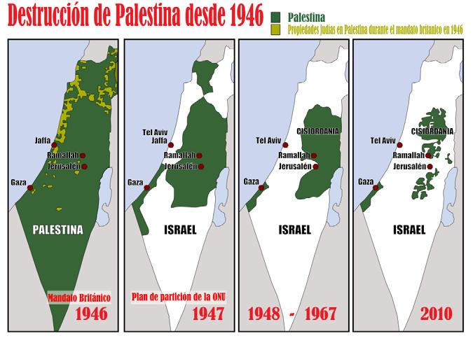Mapa de la destrucción de Palestina.
