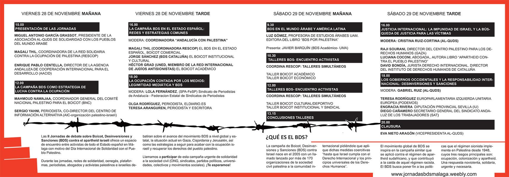 Programa de las Jornadas BDS de Málaga