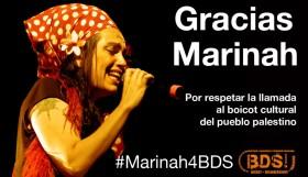 Marinah cancela su concierto en Israel y se adhiere al BDS.